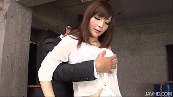 Kinky and wild Riona Suzune in a warehouse on her knees gobbling hard dick