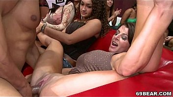 Horny girls suck and fuck male strippers