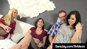 Curvy Cock Craving Sara Jay & Horny Milf, Alura Jenson, spread their legs wide open to share a hard cock when they invite a swinging couple into their bed! Full Video & Sara Jay Live @ SaraJay.com!