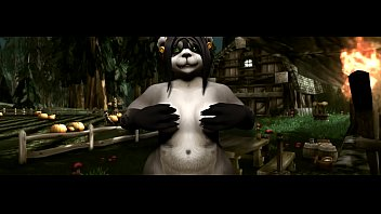 World of Warcraft playing with pandarens tits