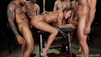 Sexy brunette babe Christy Love shows up at peer sex addiction group meeting and then gets tied and rough gangbang and double penetration interracial fucked