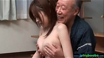 japanese big boobs babe meditating with older guy