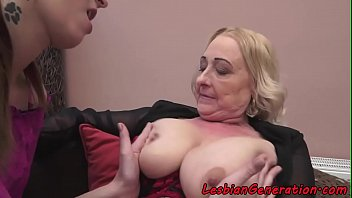 Younger MILF and old granny lesbian masturbation