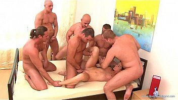 Girl have fun with 6 guys