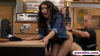 Hot brunette babe railed by pawn keeper