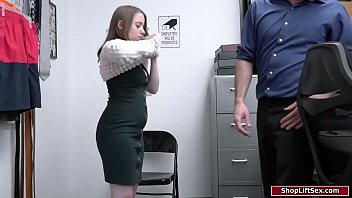 Young small tits shoplifter is caught and told to strip fully can make a deal if shes willing to blow and fuck the officer in the backroom