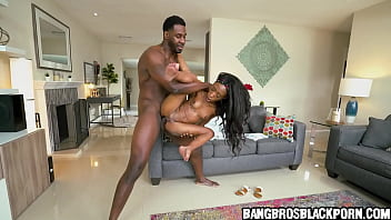 Ebony teen gets crushed by a tall black guy with a huge penis black porn