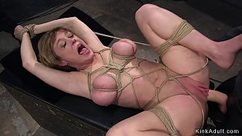 Blonde Milf trainee as slave training tormented and throat fucked by two masters