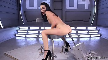 Pole dancer rides huge dick on fucking machine
