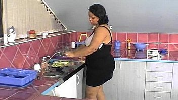 Fat Lady Gets Two Cock Fucking In The Kitchen