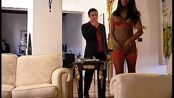 A pretty black shemale welcomes his lover at home