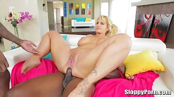 Busy MILF fucked by two big black cocks