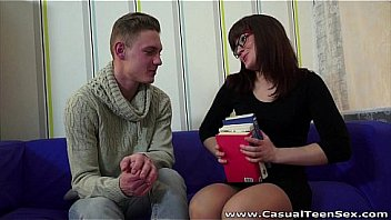 Casual Teen Sex - He shows her his books and his cock