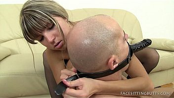 Facesitting On A Male With A Head Strapon Dildo