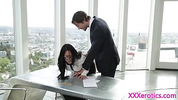 Office secretary cockriding her boss on desk