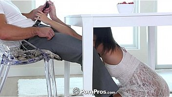 PornPros - Brunette beauty Lily Love plays with herself under the table