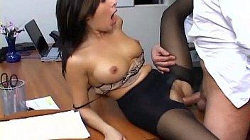 girl in leggings gets banged in office