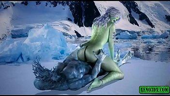 Monster White walker fucks Princess. Hentai 3D