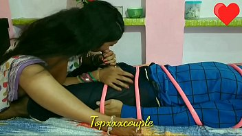Indian rich women blowjob sex with tied  up poor servant.
