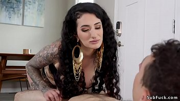 Natural huge tits alt brunette dom Arabelle Raphael sucks and wanks cock to man slave in sixtynine position then fists his ass with hand in glove and rides his hard dick in bed