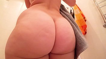 Girl with a big ass fucks after a shower