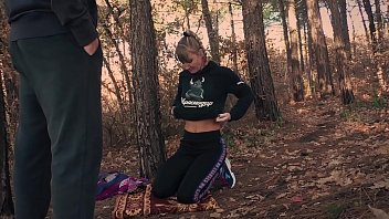 Blowjob and cum on tits in the forest. Russian Stalker Karina and security guard Ivan