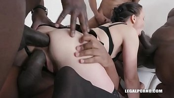 Horny brunette in stockings gaped by 3 black cocks