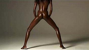Black skinny beauty stretching