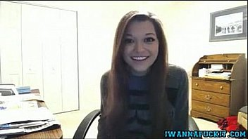 Sexy teen with a big set of tits strips on webcam