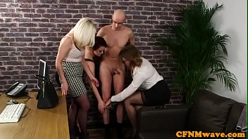Mean cfnm babes wanking dick of a lucky guy