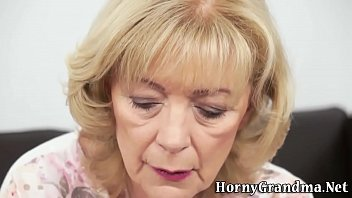Lovely old grannie lets boy suck her and enjoys