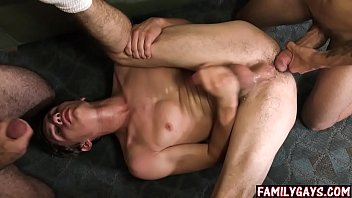 Real dad and son gay threesome