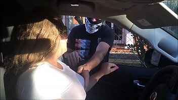 Married woman fucking tasty in the car and showing off in public, Tai a Kzada enjoying a lot - complete in red