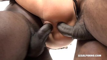 Interracial extreme fuck with 3 cocks makes whore Katrin Tequila roar for more