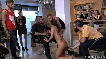Cute European brunette slave made suck and gangbang fuck at hair dressers shop