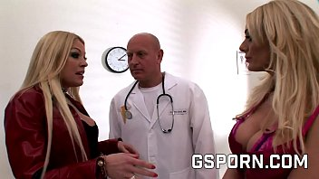 Two sexy blondes fucking the doctor in hard threesome
