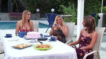 Nonton Hot Big Tits Milf Moms Have An Amazing Lesbian Tea Party At Home With Lots Of Kissing, Real Orgasms, Fingering And Pussy Licking
