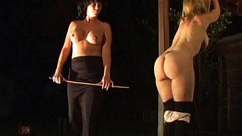 Two beutiful girls Caning and whipping - red welts (new)