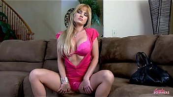 Fiesty blonde masturbates with vibrator