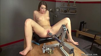 Athletic babe Jenna Ashley naked in coachs office takes fucking machine in shaved pussy then rides Sybian in various speeds till gets orgasm
