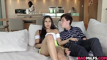 Stepbrother licking his stepsister Katya Rodriguez tight cooch and caught by their stepmom