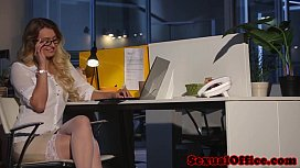 Busty office babe gets cum on tits after sex