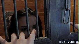 Busty prisoner rimmed