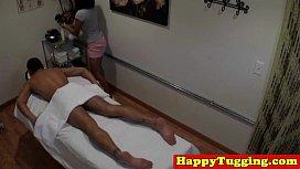 Busty amateur asian masseuse tugging