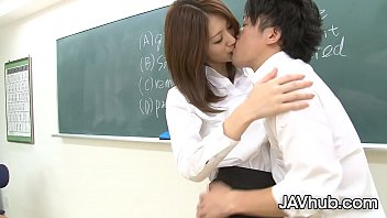 Skinny Japanese babe gets creampied by her boss