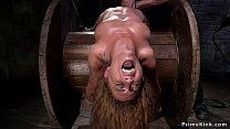 Gagged in one leg standing bondage slut gets fi...