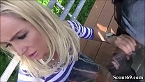German Teeny Catch Outdoor by two Strangers and seduce to interracial big Dick Threesome Thumbnail