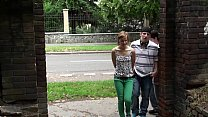 Teen street threesome orgy gang bang with a hot...