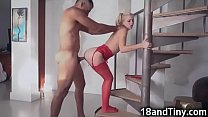 Petite Young Babysitter Struggles With Big Dick