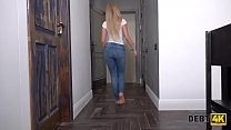 DEBT4k. Long-haired blonde with awesome body ha...
